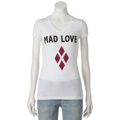 "Juniors' DC Comics Batman Harley Quinn ""Mad Love"" Graphic Tee, Girl's, Size: Medium, White"