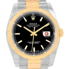 Rolex Datejust Steel Yellow Gold Black Baton Dial Watch 116233 Unworn