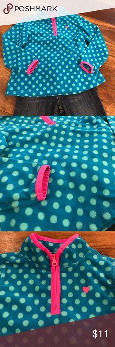 Osh Kosh polka dotted fleece pullover 💙💗 Osh Kosh blue polka dotted fleece pullover. Looks brand new! Pink trim on neck and sleeves, and embroidered pink heart. 4T OshKosh B'gosh Shirts & Tops Sweatshirts & Hoodies