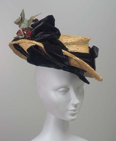 Straw Hat with Velvet Ribbon and Flowers, ca. 1900