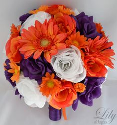 """Wedding Bridal Bouquet Silk Flowers bouquets Decoration 17 pieces Package PURPLE ORANGE """"Lily Of Angeles"""" on Etsy, £134.39"""
