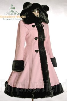 Sweet Lolita wool coat with bear ears on hood ♥