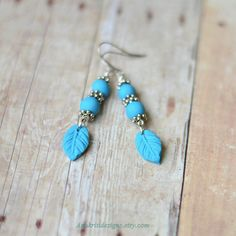 Leaf earrings Boho earrings Turquoise blue earrings