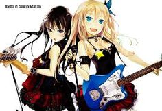 anime girls playing guitars #Blue #Red