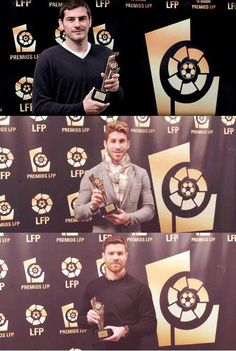 Iker Casillas, Sergio Ramos and Xabi Alonso have been awarded by the Spanish League as Best Goalkeeper, Best Defender and Best Defensive Midfielder from the the past season. LOVE THEM!