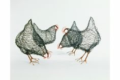 Chickens. 45cm tall. Steel wire and netting, copper wire and telephone cabling. By artist Celia Smith