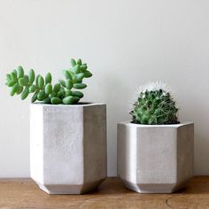 Handmade in London, these hexagonal concrete planters are perfect for small, indoor plants such as succulents and cacti. Striking the fine balance of industrial