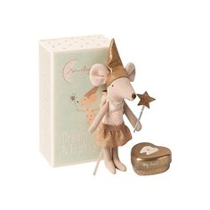 Maileg's Tooth Fairy Big Sister Mouse with metal box is delivered in this beautiful matchbox. The tooth fairy mouse comes dressed striped leggings, tutu and a pointy hat. The wand in her hand sprinkles fairy dust wherever she goes. Scandinavian Kids Toys, Tooth Box, Giant Bunny, Gold Hats, Cute Tooth, Fairy Dust, Tooth Fairy, Little Sisters, Little Ones