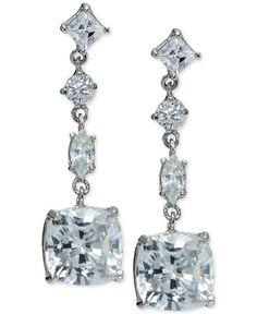 Giani Bernini Cubic Zirconia Linear Drop Earrings in Sterling Silver, Only at Macy's - Earrings - Jewelry & Watches - Macy's