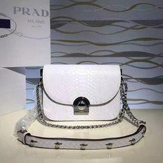 Prada Arcade Calf Leaher Crocodile Embossed Shoulder Bag White 1BD030