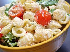 roasted garlic pasta salad: mayo free pasta salad! delicious at room temperature so it's perfect for potlucks.
