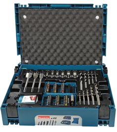 Makita Accessoires Boor-/bit set in Mbox 1 - Tools And Toys, Diy Tools, Makita Makpac, Metal Chop Saw, Makita Power Tools, Tool Box Storage, Mechanical Workshop, Bit Set, Mechanic Tools