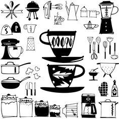kitchen doodles — Outside the Line Cute Doodles Drawings, Kawaii Doodles, Doodle Sketch, Doodle Art, Birthday Doodle, Doodle Characters, Doodle Fonts, Bullet Journal Inspiration, Scribble