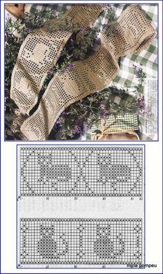 MIRIA CROCHÊS E PINTURAS: BELOS BARRADOS COM MOTIVOS INFANTIS Crochet Afgans, C2c Crochet, Crochet Borders, Crochet Cross, Crochet Home, Crochet Doilies, Crochet Cat Pattern, Crotchet Patterns, Crochet Stitches Patterns