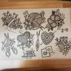 "70 Likes, 5 Comments - Zoe (@drawn_to_death) on Instagram: ""Cute and crafty #tattoo #traditional #neotraditional #neotrad #traditional #apprentice…"" Yarn Tattoo, Knitting Tattoo, Crochet Tattoo, Tatoo, Square Tattoo, Life Tattoos, New Tattoos, Body Art Tattoos, Victorian Tattoo"