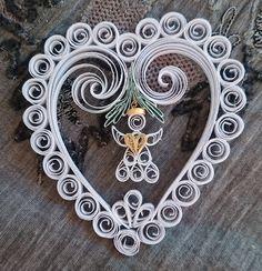 Vianočná dekorácia - srdce s anjelom