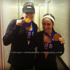 Original Homemade Olympics Couples Costume: Misty May and Kerri Walsh Take the Gold... This website is the Pinterest of costumes