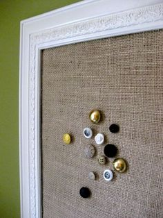 home made notice board and cute button pins