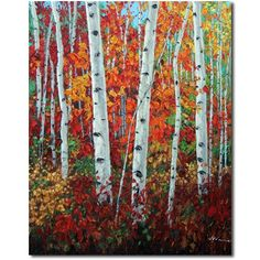 Kaleidoscope of Color 60x48 Aspen Art Birch Tree Painter, painting by artist Jennifer Vranes