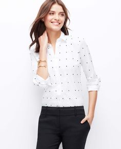 Embroidered Dot Perfect Shirt | Ann Taylor