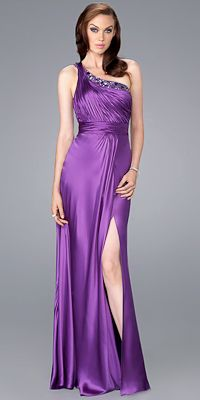 One Shoulder Pleated Prom Dresses by La Femme