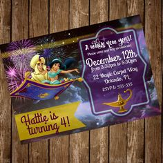 Jasmine Birthday Invitations Disney Aladdin Invitations Jasmine
