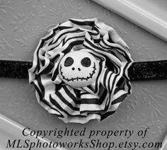 The Pumpkin King Headband - Jack Skellington Black and White Flower Hair Bow - The Nightmare Before Christmas Headband - Halloween Headbands...