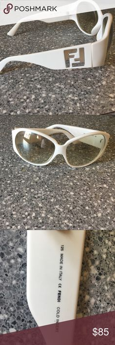 Fendi sunglasses FF logo on temples. Not a scratch on them!!! White ( not bring white) yellow/tan tinted lenses. Authentic! I'm using a different case for them but will try to find the original. Fendi Accessories Sunglasses