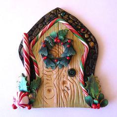 Christmas Wreath Fairy Door Pixie Portal Miniature by Claybykim