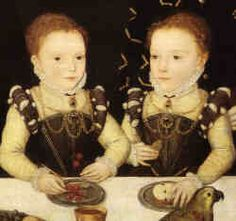 Elizabeth and Frances Brooke, born 1562 to William Brooke, Baron Cobham, and his wife Frances (nee Newton).  Elizabeth married Robert Cecil, later Earl of Salisbury.  The Brookes were distant cousins of the Boleyn family.