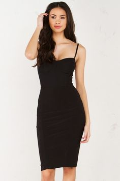 Front View Bustier Dress in Black