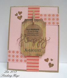 "DT member Lin used her Simon January card kit and the ""Oh Happy Day"" and ""Holiday Shapes"" hearts dies to create this lovely card!  http://heartshugsandflowers.blogspot.com/2013/01/each-moment.html"