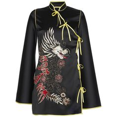 Attico Stella Embroidered Kimono Satin Dress (£1,075) ❤ liked on Polyvore featuring dresses, black, embroidered cocktail dress, mini cocktail dress, kimono dress, satin kimono and dragon dress