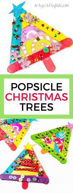 Arty Crafty děti  Vánoční řemesla pro děti  Popsicle Stick Vánoční strom Craft #christmastreecraft #kidschristmascraft #christmascraftsforkids #kidscrafts