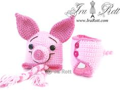 Handmade Crochet Pinky the Piglet Hat and Diaper Cover Set for Babies