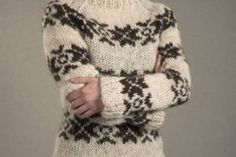 """The sweater from """"The Killing"""".If you want to knit your own traditional sweater, this is what you need: Sirri yarn 3-ply undyed White and Dark Brown, approximately 400 grams. Needle size 8 mm. Knit the sweater to fit very tight, since the Sirri wool will stretch when you wear it."""