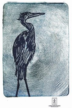Ancient Heron Monoprint Linocut Hand Pulled Fine Art