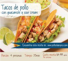 http://www.polloolympico.com/nuevo/tacosmexicanosdepollo.php  #Pollo #Receta #Tacos #Guacamole #SourCream #Colombia #Bogotá #Recipe #Cook #Chicken