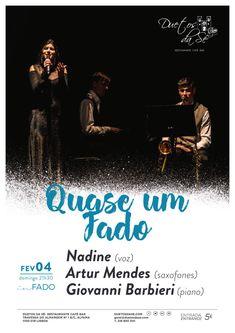 """""""Duetos da Sé"""", #Alfama, #Lisboa - DOMINGO 4 DE FEVEREIRO 2018 – 21H30 -  CONCERTO """"IN FADO"""" -""""Quase um Fado"""" Nadine (voz), Artur Mendes (Saxofone) &Giovanni Barbieri (piano) - Uma viagem por Portugal, pelas suas raízes e tradições musicais tendo como único destino o Fado.  """"Quase um Fado"""" nasceu a 2 de Novembro de 2014, em Alfama (Lisboa). É um projeto de autoria de Nadine e é composto por voz, piano e saxofone que através do Fado e do seu extenso e diversificado repertório..."""