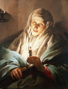 Hendrick ter Brugghen (Dutch, 1588-1629) - A Woman with a Candle and Cross