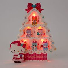Hello Kitty Sparkling Christmas Tree w/ Illuminated Lights and 20 Melodies Pop Up Greeting Card / Christmas Card Cat Christmas Cards, Hello Kitty Christmas, Christmas Greetings, Hello Kitty Bag, Sanrio Hello Kitty, Christmas Decorations, Christmas Ornaments, Christmas Tree, Pop Up Greeting Cards
