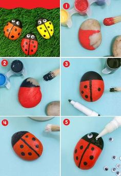Toddler Crafts, Crafts For Kids, Ladybug Rocks, Rock Art, Painted Rocks, Activities For Kids, Homemade, Painting, Nova
