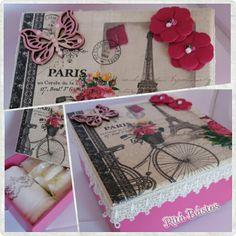 Caixa em MDF decorada com decoupage, arabesco, flores e tema guipir