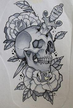 skull n dagger sketch tattooed