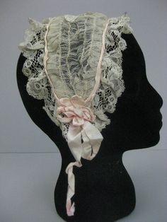 Ladies Victorian American Civil War Cream /& pink  BONNET costume fancy dress