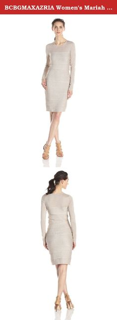 BCBGMAXAZRIA Women's Mariah Long Sleeve Ruffle Dress, Sesame Combo, Small. Metallic silk brings a subtle sparkle to this feminine ruffle dress.