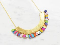 Handmade half circle necklace in gold leather and by BenuMade