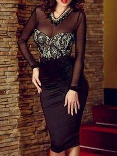 Elegant V Neck Blended Pure Bodycon-dress Bodycon Dresses from fashionmia.com