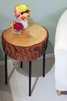 log side table for home decorating