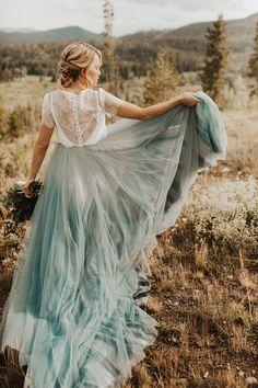 Chantel Lauren Wedding dress from Emma & Grace Bridal Studio Quirky Wedding Dress, Unusual Wedding Dresses, Unconventional Wedding Dress, Wedding Skirt, Alternative Wedding Dresses, Blue Wedding Dresses, Bohemian Wedding Dresses, Wedding Dress Shopping, Bohemian Weddings